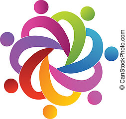 Teamwork people helping logo