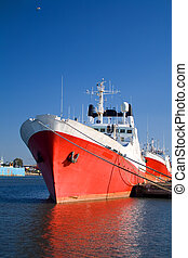Big red ship - Fishing ship in dock