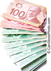 Canadian bank notes, 20, 50 and 100 dollars