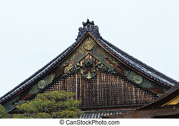 Roof of Nijo Castle in Winter Season Kyoto Japan