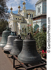 Ancient bells on the territory of the St. Intercession orthodox Monastery in Kharkiv, Ukraine