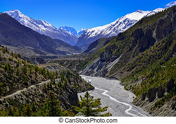Himalayas mountain river valley with peaks in background,...