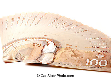 Canadian 100 dollar bills in polymer isolated on white...