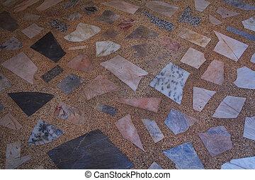 stone floor tile in sunny day