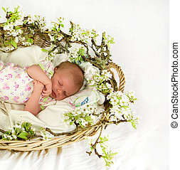 Baby girl inside of basket with spring flowers.