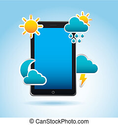 application of climate over blue background vector...