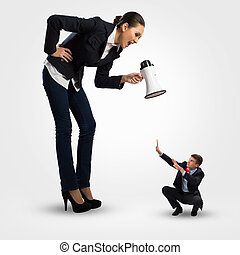 concept of aggression - woman screams at the frightened man,...