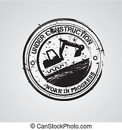 under construction seal over whit background vector...