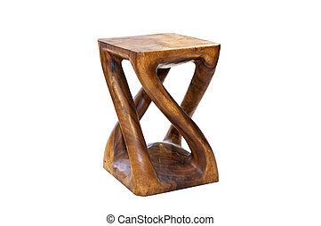 Hand-made wooden chair isolated