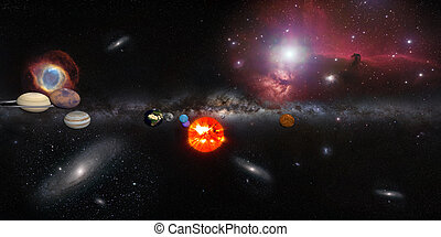 Solar system with milky way galaxy and many other Galaxies...