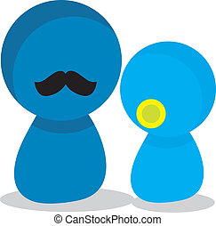 father son daughter icons - simple isolated blue father son...