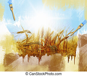 Rye field on a beautiful sunny sky background Hand painting