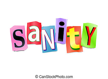 Sanity concept. - Illustration depicting a set of cut out...