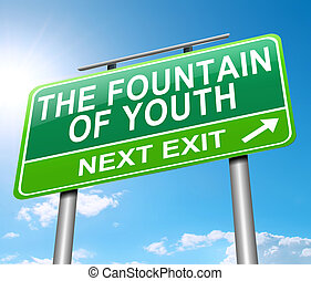 Fountain of youth concept. - Illustration depicting a sign...