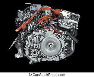 nuevo, híbrido, coche, motor, aislado, negro, Plano...