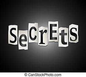 Secrets concept. - Illustration depicting a set of cut out...
