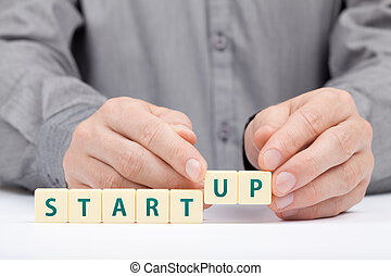 Startup business concept - Businessman complete his startup...