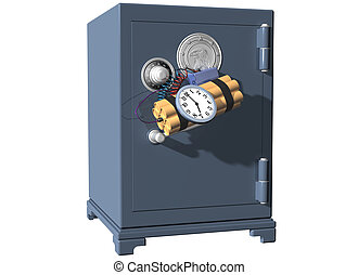 Bank Job - Isolated illustration of a safe being broken into...