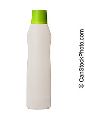 Plastic container for household detergents on white...