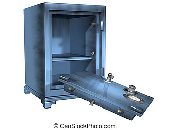 Safe break-in - Isolated illustration of a safe that has...
