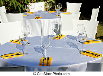 Table setting for garden banquet