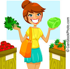healthy vegetables - young woman buying vegetables