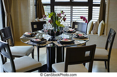 dining room - fine table setting in an elegant dining room