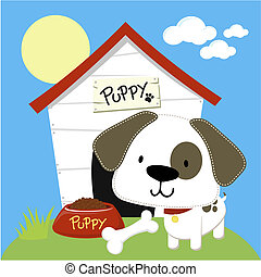cute puppy and dog house, individual objects in vector...