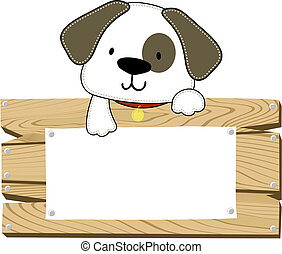 puppy vector signboard - illustration of cute doggy with...