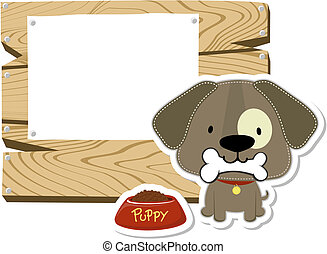 cute doggy wooden blank board