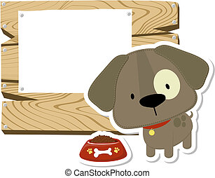 cute puppy and wooden blank board