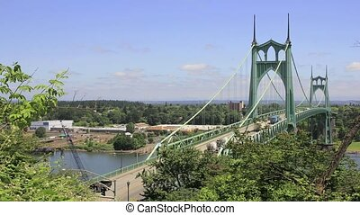 St Johns Bridge in Oregon 1080p - St Johns Bridge Over...