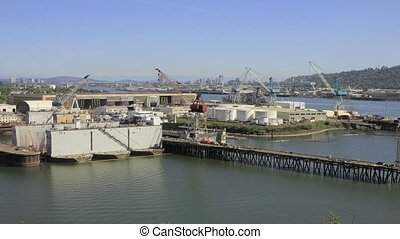 Industrial Shipyard with Cranes - Industrial Shipyard with...