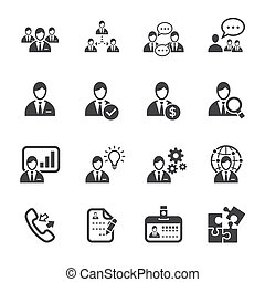 Management and Human Resource Icons with White Background