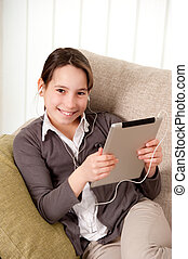 young girl with touch tablet computer