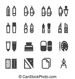 Drawing and Painting Tools Icons - Drawing Icons and...