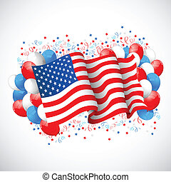 Colorful Balloon with American flag - illustration of...