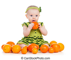 baby girl eating fruits isolated on white background