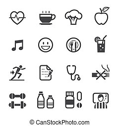 Health Icons and Wellness icons with White Background