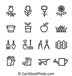 Flower Icons and Gardening Tools Icons with White Background