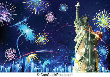Statue of Liberty on Firework background - illustration of...