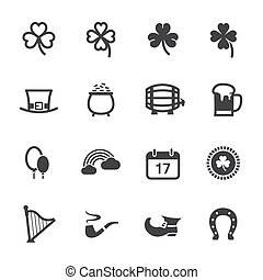 Saint Patricks Day Icons with White Background