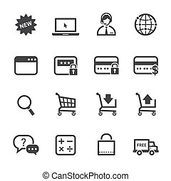 Shopping Online Icons with White Background