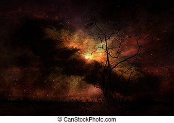Stark tree silhouette against night sky Elements of this...