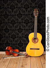 classical guitar and violin in vintage background