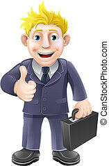 Thumbs up businessman - Business man holding a briefcase and...