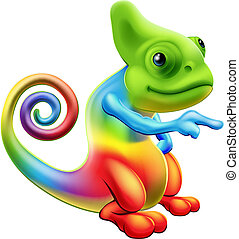 Rainbow chameleon mascot pointing - Illustration of a...