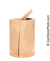 Birch bark container with open top