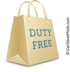Duty free shopping bag. Vector illustration