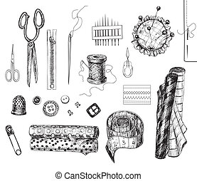 Sewing set - Set of various hand - drawn sewing related...